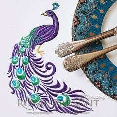 Machine Embroidery Design Beautiful Peacock Corner - 3 sizes
