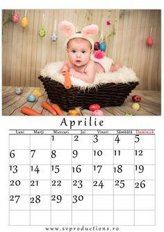 Calendar luna Aprilie cu tema Paste, costumas  de iepuras!
