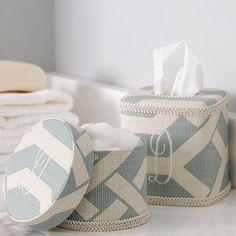 Monogrammed Fabric Lidded Box - guest bath
