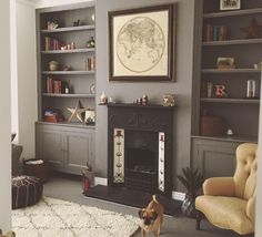 Living room in Farrow and Ball Moles Breath