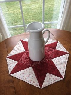 Red & Creamy White Quilted Table Runner Table Topper by seaquilt