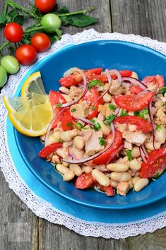 Salata de fasole cu ton - CAIETUL CU RETETE Pasta Salad, Potato Salad, Food And Drink, Potatoes, Meat, Chicken, Ethnic Recipes, Blog, Salads