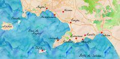 Carte des principaux site touristiques de la côte amalfitaine.