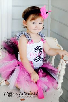 Zebra and Hot Pink  Birthday Outfit with  Matching Tutu. $50.00, via Etsy.