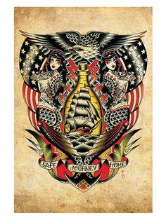 safe journey home by tyler bredeweg nautical rockabilly tattoo artwork art print nautical military tattoo-eagle america pin-up Tattoos 3d, Pin Up Tattoos, Ship Tattoos, Ankle Tattoos, Arrow Tattoos, Back Tattoo, Chest Tattoo, Tattoo Small, Tatuagem Old Scholl