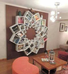 DIY BOOKSHELF...using BOXES!  This is such a neat idea!