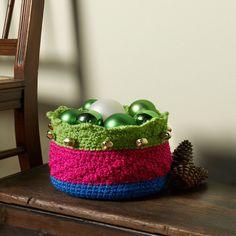 Best Free Crochet » Free Jingle Bells Basket Crochet Pattern from RedHeart.com