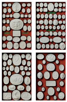 Intaglio Medallions. A set of nine Italian cased painted plaster Intaglios, Mid-19th Century...  From...  http://www.christies.com/lotfinder/lot/a-set-of-nine-italian-cased-painted-5336348-details.aspx?pos=2=5336348==25