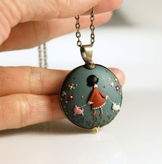 Walking The Dogs. Original signed wearable art. Hand made polymer clay pendant by Eva Thissen Gallery, via Flickr