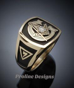 Scottish Rite Masonic Ring in Gold with Diamond ~ Style 020 Freemason Ring, Engraved Rings, Beautiful Gift Boxes, Wedding Men, Rings For Men, Jewels, Diamond, Etsy, Freemasonry