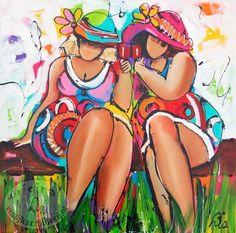 """""""Sit"""" by Schilderij van Liz (Paintings by Liz: <Corrie Leushuis and Renate Rolefes> Ootmarsum, Holland) Funny Paintings, People Dancing, Fat Women, Big And Beautiful, Beautiful Women, Happy People, Female Art, Cute Art, Folk Art"""