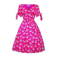 'Paula' Pink Llama Print Day Dress -  from Lindy Bop UK