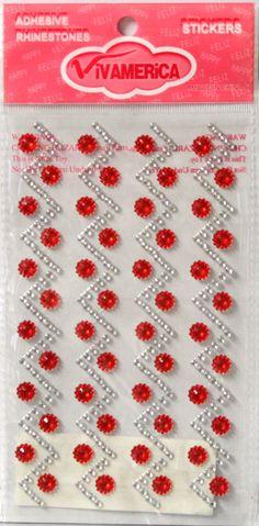 Vivamerica Self-Adhesive Red & Clear Zig Zag Rhinestone Embellishments