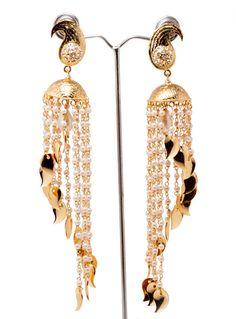 GOLD JHUMKAS Cascade JhumkaPearl Earrings Long by taneesijewelry