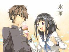 Hyouka's Chitanda Eru and Oreki Houtarou
