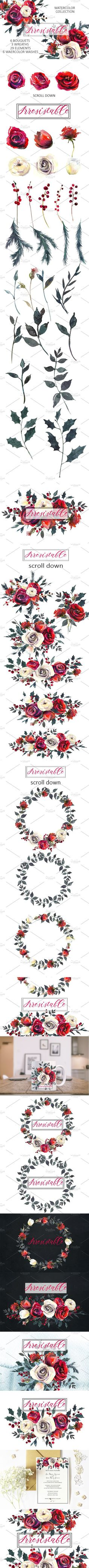 Red Roses Watercolor Clipart Set. Wedding Card Templates. $12.00