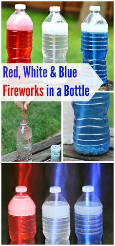 Kids of all ages will LOVE these easy to make red, white and blue sensory bottles -- using glow sticks so they glow at night too! Great idea for a safe alternative to fireworks for toddlers, preschool and kindergarten kids and a fun July party activity! Fireworks For Kids, Blue Fireworks, Party Activities, Summer Activities, Toddler Activities, Babysitting Activities, Stem Activities, Summer Crafts For Toddlers, Toddler Crafts