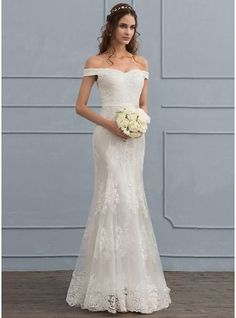 Trumpet/Mermaid Off-the-Shoulder Sweep Train Tulle Lace Wedding Dress With Sequins (002119801) - JJsHouse