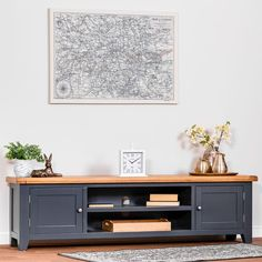 When you want to be able to rest and relax like never before, there's no better option than treating yourself to our Hampshire Blue Painted Oak Extra Large TV Unit. It comes with a unique blue painted finish you can't find anywhere else in our range, plus Tv Unit Furniture, Blue Furniture, Ikea Living Room, Living Room Furniture, Ikea Bedroom, Large Tv Unit, Large Tv Stands, Tv Stand Decor, Small Cupboard