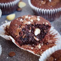 Just in case you didn't get enough chocolate over the weekend! 😜 Here's my Moist Choc Chip & Macadamia Chocolate Muffins, recipe to these taste bombs are up on the blog (link in bio). X #vegan #glutenfree