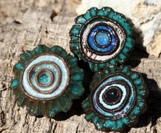 Handmade Ceramic Shank Buttons Set of 3 by LisaPetersArt on Etsy