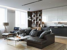 Проект квартиры для холостяка Изначально квартира представляла двух комнатную, с большой кухней и двумя санузлами. Необходимо было сделать просторную…