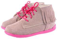 Trzewik 4142-22 beż sznurówka  Kids suede fringe shoes Beige and pink