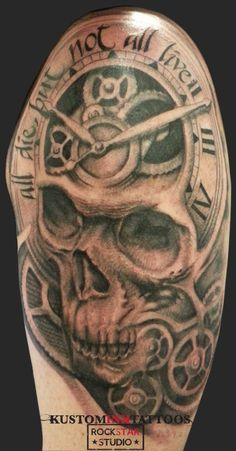 #tattoo #skull #clock #gears #blackandgrey