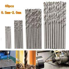40pcs 0.5 / 0.8 / 1.5 / HSS brocas helicoidales micro 2mm mango cilíndrico de perforación PCB