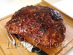 Roast leg of pork - Pernil de Porco Assado - Receita MuitoGostoso Meat Steak, Pork Meat, Bbq Meat, Meat Food, Chef Recipes, Pork Recipes, Portuguese Recipes, Wonderful Recipe, International Recipes