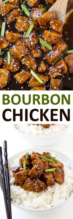 Super Easy One Pan Bourbon Chicken. Serve with rice and noodles to make it a meal! | chefsavvy.com #recipe #bourbon #chicken #dinner