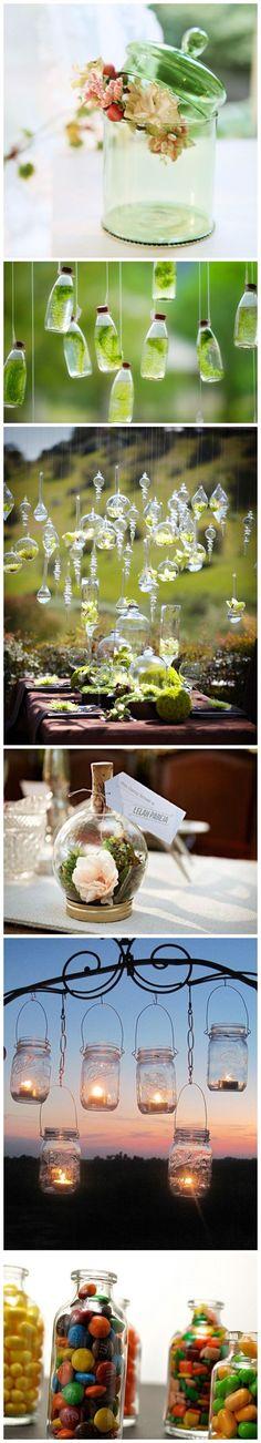 Glass bottles as dekoration for the wedding