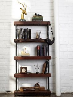DIY shelf with reclaimed wood and black pipe... love it!