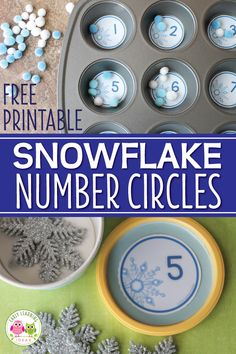 Looking for winter math activities for your kids? Try these snowflake number circles. Use the free math printables in muffin tins or use them to make counting containers. Many ideas are included for counting, number sense, and even basic addition. Weather Activities Preschool, Snow Activities, Winter Activities For Kids, Preschool Themes, Winter Preschool Activities, Winter Theme For Preschool, Preschool Classroom, Science Activities, Classroom Themes