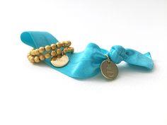 #armbänder #turkis #gold #elastisch #perlen #hairties Cufflinks, Bracelets, Gold, Leather, Accessories, Jewelry, Fashion, Beads, Moda