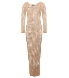 Balmain - Cotton crochet-knit maxi dress - With an earthy nude colour and a barely-there feel, this dress from Balmain is oh-so alluring. The crochet-knit piece is made from cotton that hugs the body from top to bottom to centre all the attention on you. Wear yours over a nude slip dress or let it amp up your style credentials seaside over your bikini. seen @ www.mytheresa.com