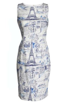 Channel Parisian charm in this sleeveless sheath dress featuring a slice-of-French-life sketched print.