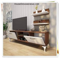 TV Stand Unit Cabinet Ideas Latest 2020 - House Designs Tiny House Furniture, Living Room Tv, Wall Shelf Decor, Furniture Design Living Room, Tv Wall Decor, Living Room Tv Unit, Wall Shelves Living Room, Home Decor, White Dining Room Sets