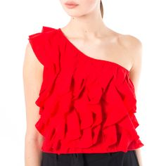 Top Donna Frappe, One Shoulder, Ruffle Blouse, Collection, Tops, Women, Fashion, Moda, Fashion Styles