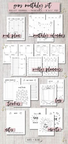Gems Theme Bullet Journal Printable Template Monthly Planner Set   Instant Download   Organize and plan your way to you best most productive life!   This gem-themed monthly bullet journal set contains everything you need to organize and plan your best most productive life! Set and reach your goals through planning organization and focus. Manage your time with monthly weekly and daily spreads. Plan your meals track your way to better habits keep track of your finances and more!   These…