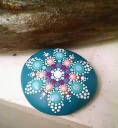 Hand Painted Beach Rock ~ Colorful Dot Art Painted Stone~ Unique Design Home Decor Ornaments ~ Flower Mandala by P4MirandaPitrone on Etsy