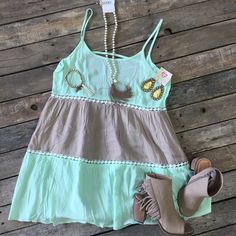 #NEWARRIVALS  #Mint #CrochetDetail #Dress $29.99 S-L #Taupe #Fringe #Heels $67.99 6-10 #Necklace $17.99 #PinkPanache #Earrings $30.99 #Bracelet $9.99 We #ship! Call us today! 903.322.4316 #shopdcs #instashop #instafashion #shopdavis #shoplocal #shopsummer