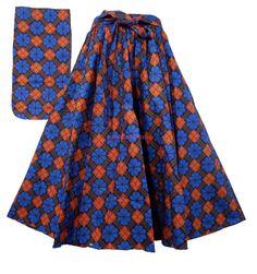Ankara Skirt African Wax Fabric Skirt Maxi Elastic Waist Party Skirt P 54 Blue #Handmade #ALine