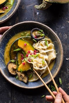 You Have Meals Poisoning More Normally Than You're Thinking That Miso Dumpling Soup With Autumn Squash Hbharvest Soup Recipes, Vegetarian Recipes, Dinner Recipes, Cooking Recipes, Healthy Recipes, Dumplings Receta, Dumplings For Soup, Good Food, Yummy Food