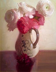"Ranunculus by Dennis Perrin Oil ~ 18"" x 14"""