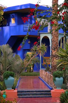 Majorelle Gardens in Marrakech, Moroccoi love this, but of course would add at least 100 pots of flowers