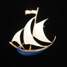 Gold tone metal and enamel sailing ship pin. The pin is in very good to excellent condition. The pin measures 1 x 1 Nautical Jewelry, Unique Jewelry, Sailing Ships, Brooch Pin, Cufflinks, Trending Outfits, Handmade Gifts, Boats, Accessories