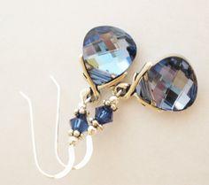Blue Swarovski Crystal Earrings Aqua Champagne by MagnoliaStudio, $26.00