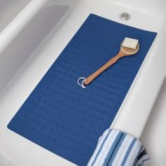 Large Blue Rubber Bath Mat   Fits Standard And Extra Long Tubs!