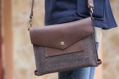 Hand stitched wool and leather iPad Air messenger